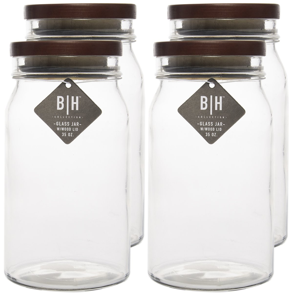 Blue Harbor (4 Pack) 35oz Clear Glass Storage Jars With Wood Lids Decorative Kitchen or Craft Jar Set