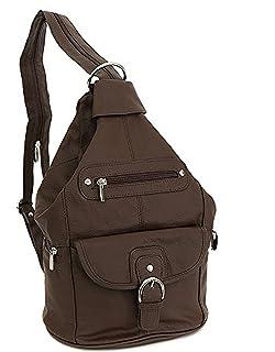 9d8a4b3da8 Womens Leather Convertible 7 Pocket Medium Size Tear Drop Sling Backpack  Purse Shoulder Bag