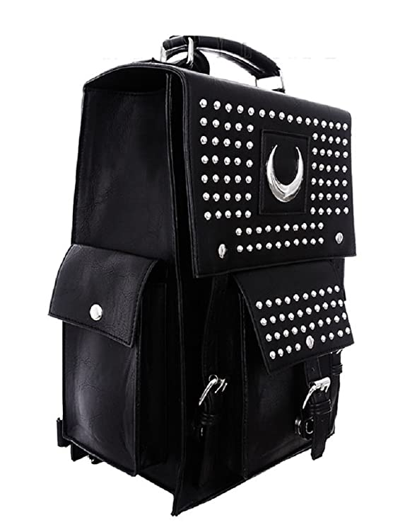 Amazon.com: Restyle Gothic Faux Leather Iron Moon Backpack Studs Crescent Wicca Punk Bag: Clothing