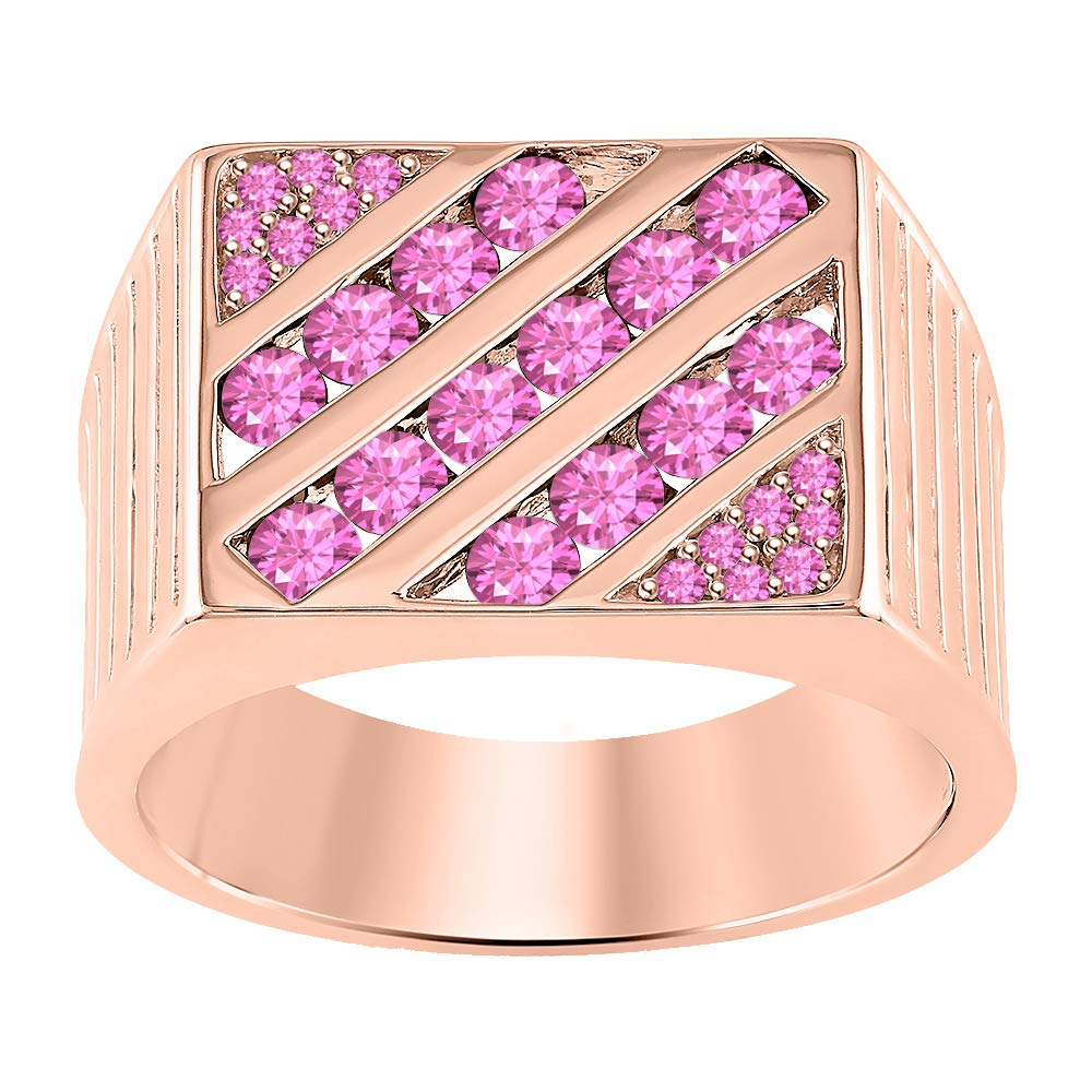 tusakha 2.00Ctw Round Cut Gemstone 14K Rose Gold Plated Mens Engagement Wedding Band Ring .925 Sterling Silver