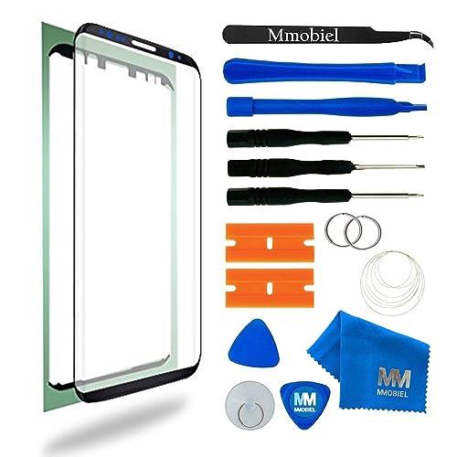 MMOBIEL Kit de Reemplazo de Samsung Galaxy S8 G950 Series 5.8 Pulgadas Negro Incluye Pantalla de Vidrio/Cinta Adhesiva de 2 mm/Kit de Herramientas/Limpiador de Microfibra/Alambre Metálico