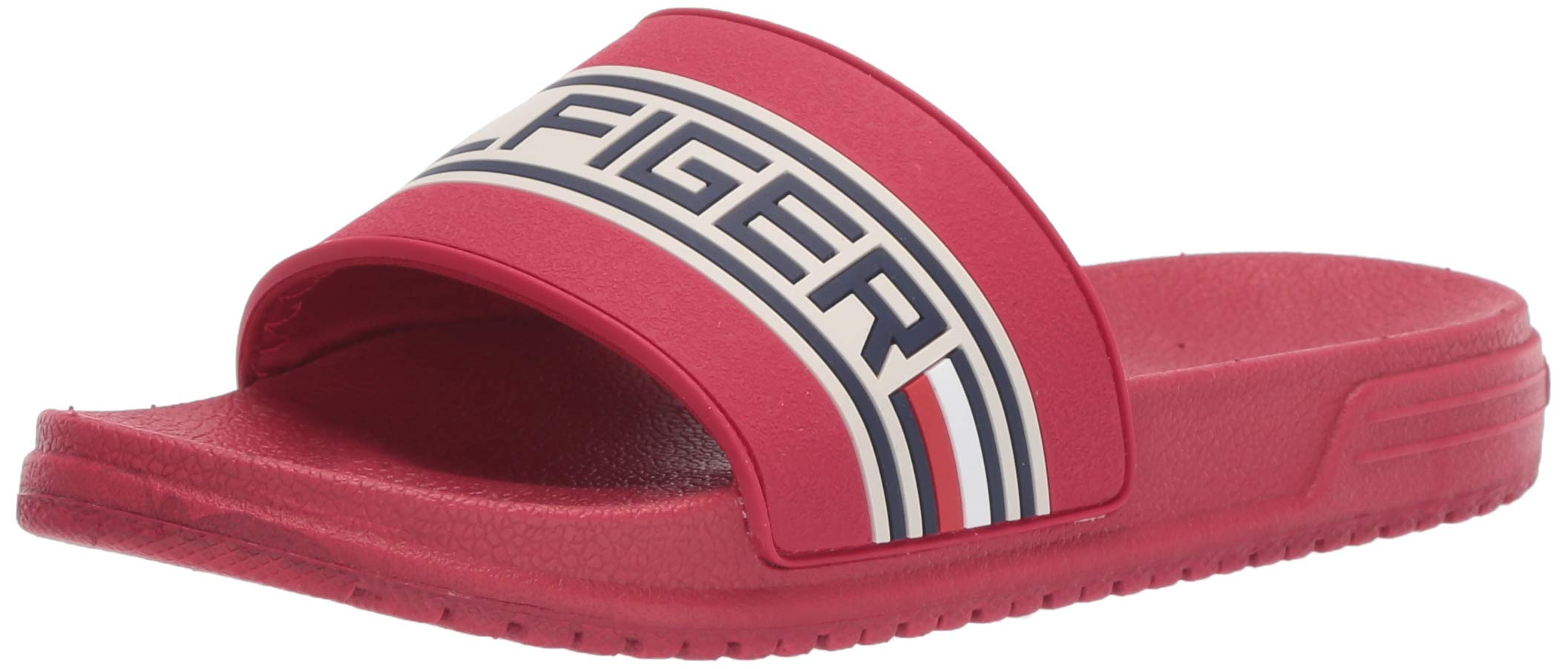 Tommy Hilfiger Unisex Kids' Geo Logo Slide Athletic Sandal, Tommy red, 12 Medium US Little