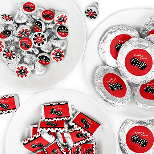Las Vegas - Mini Candy Bar Wrappers, Round Candy Stickers and Circle Stickers - Casino Party Candy Favor Sticker Kit - 304 Pieces - Mini Bar Wrapper