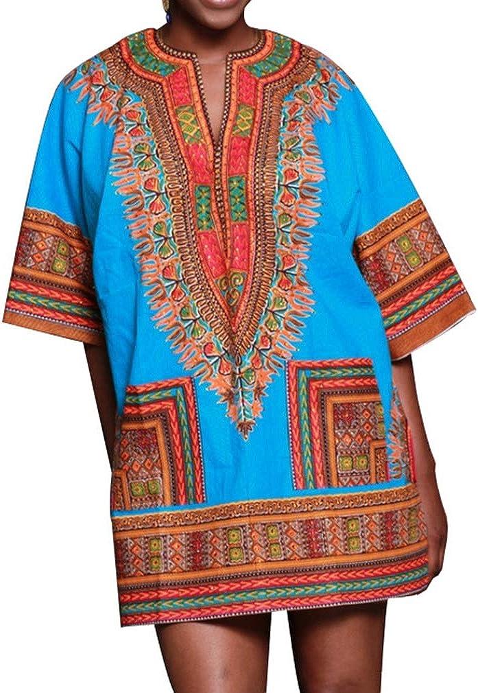 Honghu Mujer Sexy Suelta Manga Corta Dashiki Vestidos africanos Camisa de Talla Grande: Amazon.es: Ropa y accesorios