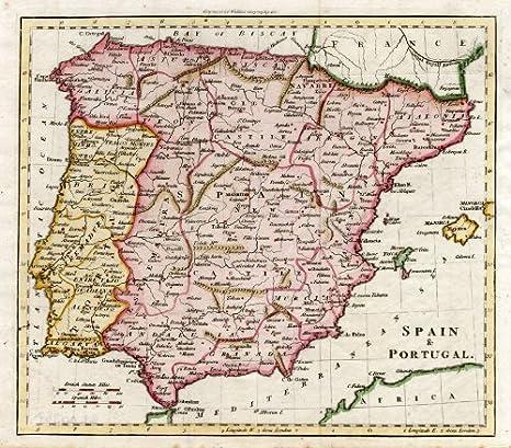 Antiguo ThePrintsCollector mapa de España-Portugal-Algarva-Granada-Walker-1810: Amazon.es: Hogar