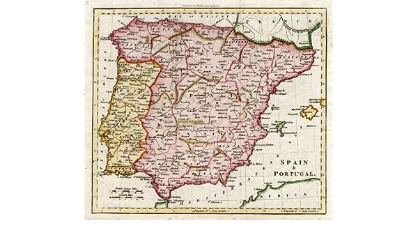 Antiguo ThePrintsCollector mapa de España-Portugal-Algarva-Granada ...