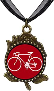 Chicforest Bronze Retro Style Olympics Cycling competition bicycle Rose Flower Pendant