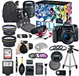 Canon EOS 77D DSLR Camera Deluxe Video Creator Kit with Canon EF-S 18-55mm f/3.5-5.6 IS STM Lens + Rode VIDEOMIC GO Microphone + SanDisk 32GB SD Memory Card + Accessory Bundle
