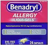 Johnson & Johnson Consumer 243093 Benadryl Allergy, Dye Free Liquid Gels (Pack of 24)