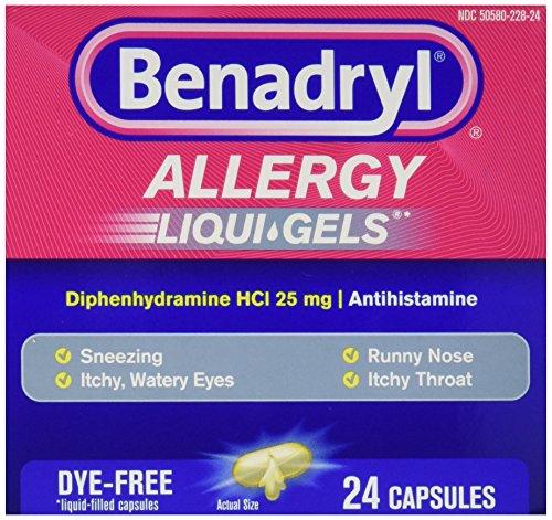 Benadryl Allergy, Dye Free Liquid Gels, Pack of 24