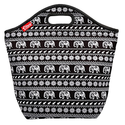 Elephant Large Lunch Bag Neoprene Insulated Lunch Tote Bag Reusable Lunchbox for Adults Kids Women Men Girls Boys, Suitable for Work School Outdoors (Folded Box Pattern)