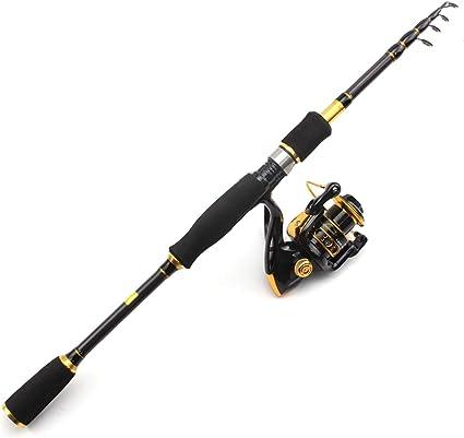 Ensemble canne à pêche télescopique, moulinet avec leurres