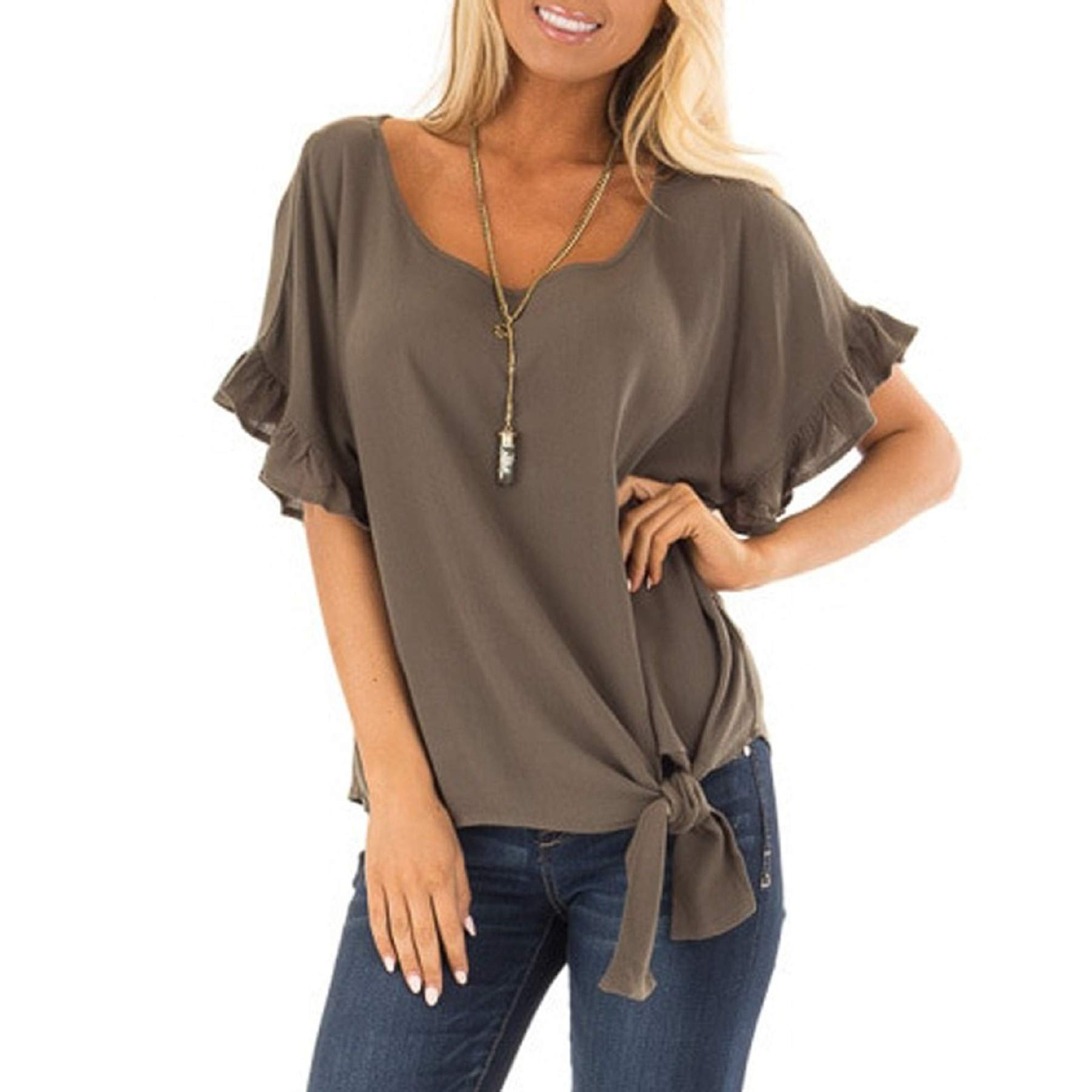 Women's Short Ruffle Sleeve Loose Tie Front Blouse Ladies Casual Summer Solid T Shirt Baggy Tops Coffee