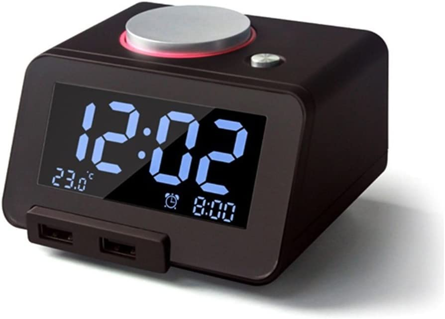 Glovion Digital Melody Alarm Clock with Dual Hub USB Charger 3.2 Inch Dimmable LCD Display -Black