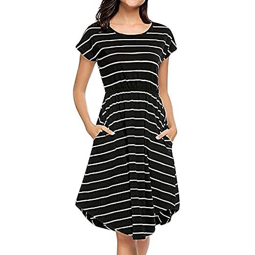 0a0ddb5e2a63e Hunzed Women Dress, Holiday { Short Sleeve Dress } Casual { Elastic Waist  Dress }