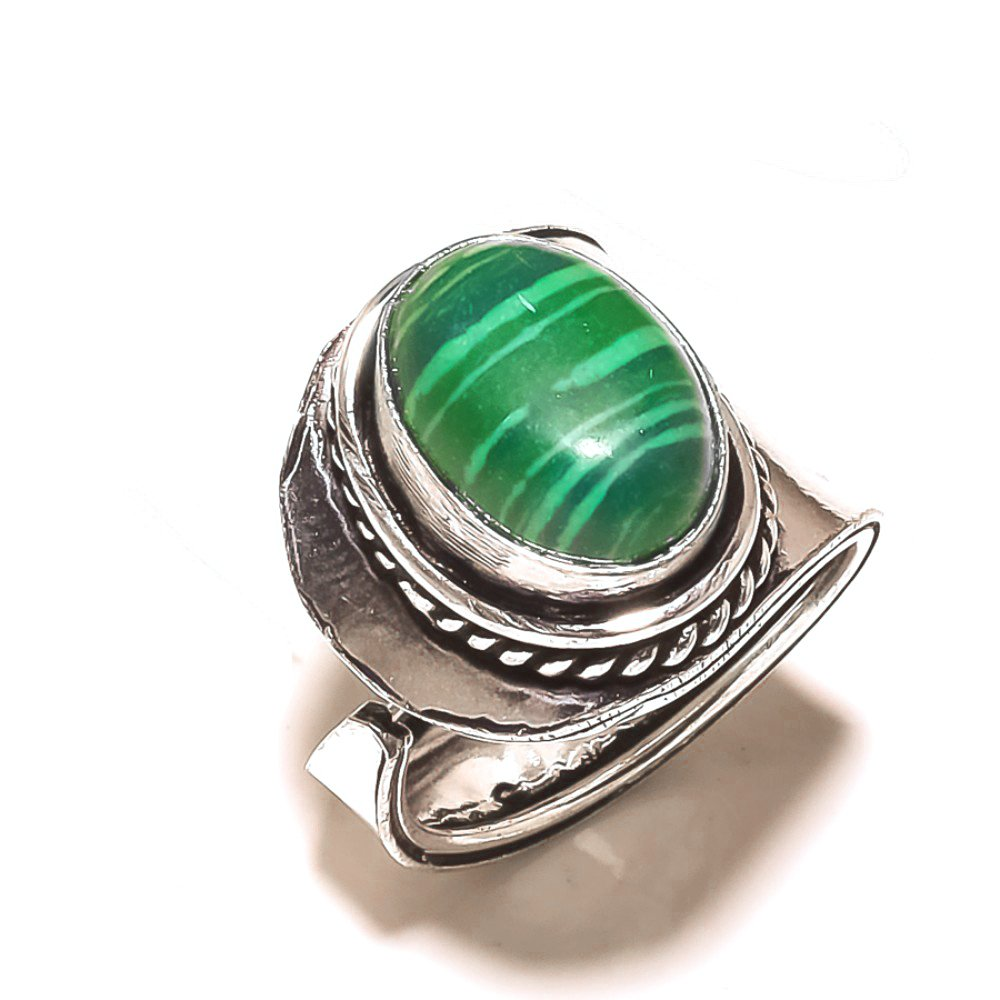 Sizable Green Malachite Sterling Silver Overlay 8 Grams Ring Size 8 US Delicate Handmade Jewelry