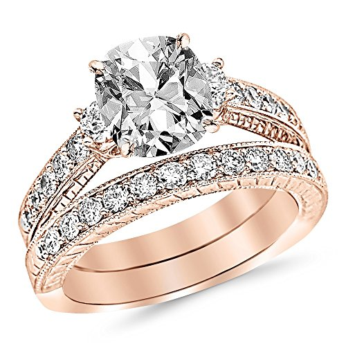 2.03 Ctw 14K Rose Gold GIA Certified Cushion Cut Three Stone Vintage with Milgrain & Filigree Bridal Set with Wedding Band & Diamond Engagement Ring, 1 Ct G-H SI1-SI2 Center