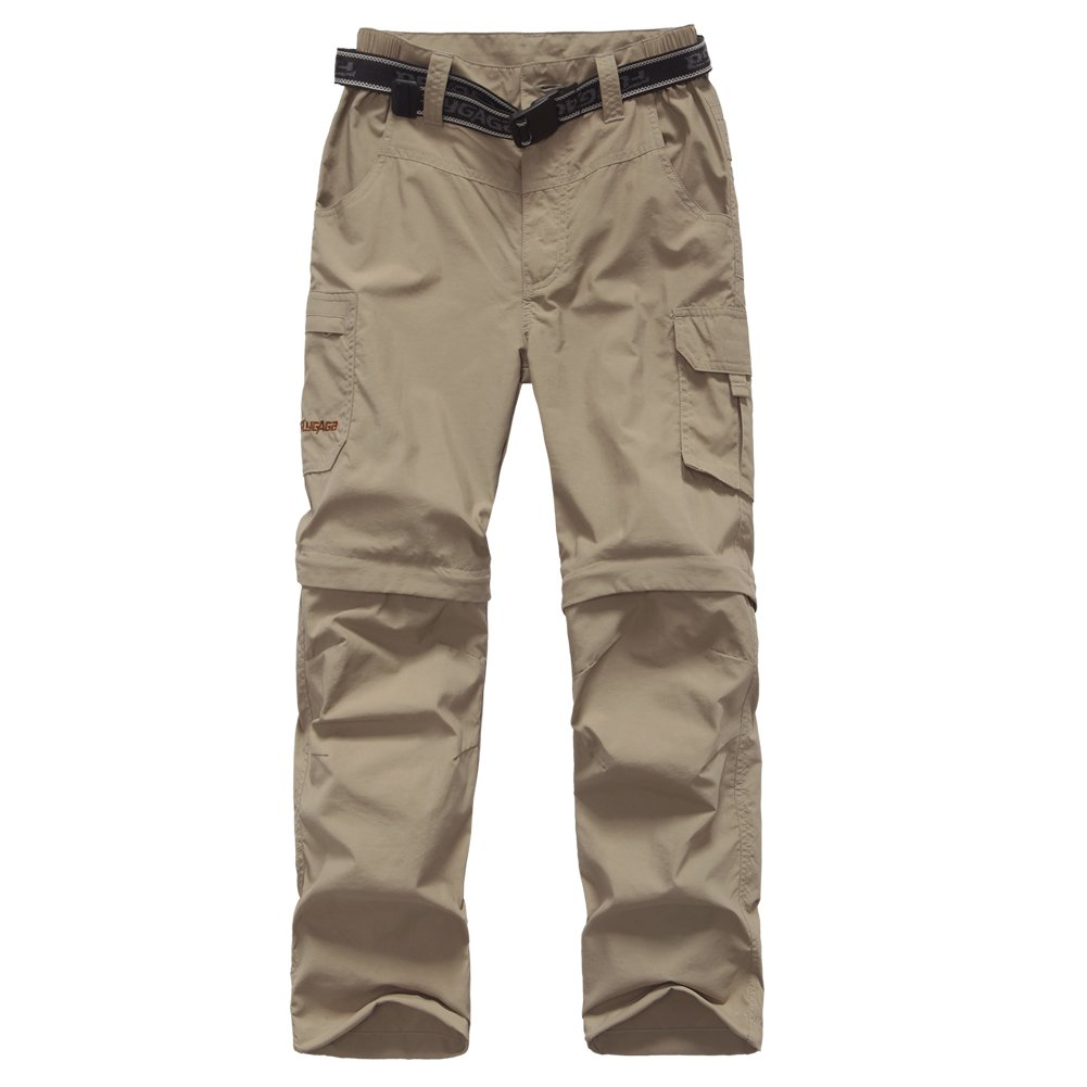 FLYGAGA Boy's Quick Dry Outdoor Convertible Trail Pants Khaki XL