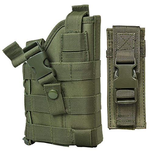 M1SURPLUS MOLLE Tactical Green Holster with Free Pistol Magazine Pouch/The Holster Fits Kimber Desert Warrior SOC Match II Custom TLE II Eclipse Target Ultra Raptor II 1911 Pistols Handguns