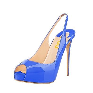 f4cb7ad62ec2 Amazon.com  FSJ Women Peep Toe Extreme High Heels Platform Sandals  Slingback Stiletto Prom Dress Pumps Size 4-15 US  Shoes