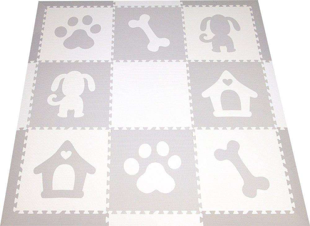 SoftTiles Children's Foam Playmat- Dog Theme- Nontoxic Premium Interlocking Floor Tiles for Kids Playrooms and Baby Nursery 6.5' x6.5' (Light Gray, White) SCDOGWH
