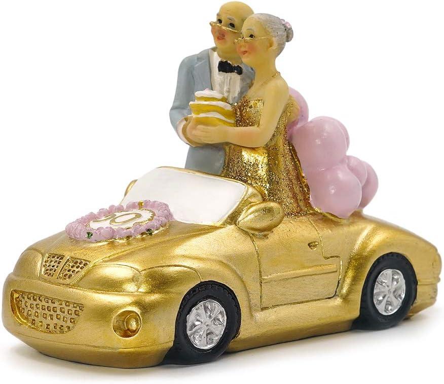 Aoneky Figura de Bodas de Oro 50 - Figura de Novios Pareja para Pastel Tarta, Regalo para 50 Aniversario de Abuelos Padres, Estatua Decorativa de Resina, Decoración del Hogar Casa Coche Tarta Pastel