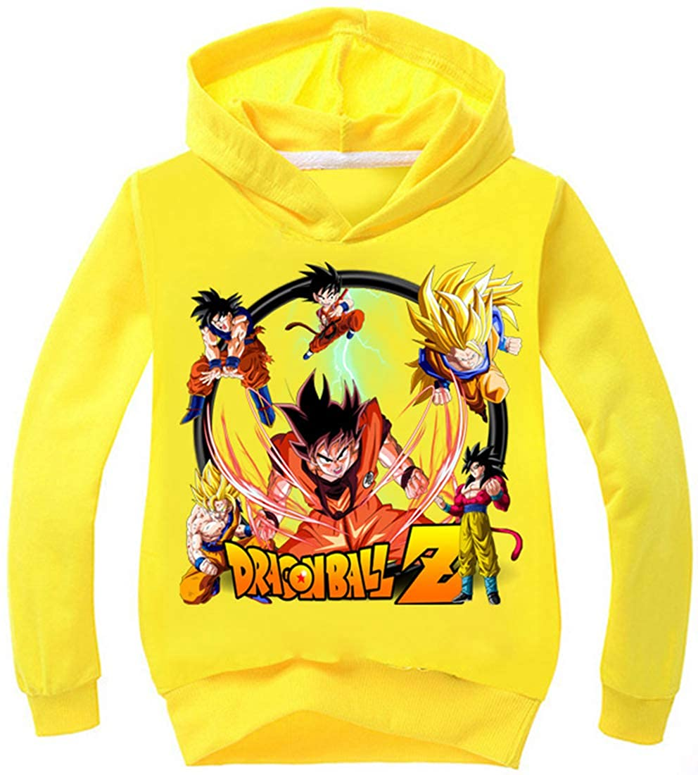 FLYCHEN Felpa con Cappuccio per Bambini e Ragazzi Stampa Grafico di Dragonball Z Goku Son a Tinta Unita