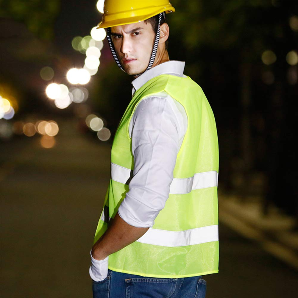 INTVN Reflective vests 5 Pack Safety Vest Fluo Yellow Vis Vest High Visibility Waistcoat Work Vest Reflective for Hiking Race Cycling Motorcycle Driver Worker Gardener Police Cleaner in the Night