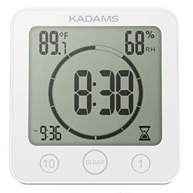 [2018 Version] KADAMS Digital Clock Timer with Alarm, Waterproof for Water Spray for Bathroom Shower Kitchen, Touch Screen Timer, Temperature Humidity Display, Suction Cup, Hanging Hole, Stand - WHITE