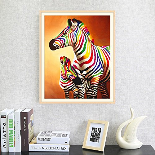 Chenway 5d Shaped Diamond Painting Colorful Zebra & Horse Point Drill Painting Partial Diamond Cross Stitch Embroidery Kit Craft Artist Wall Decoration (Mother and Child - Zebra 25x30cm)