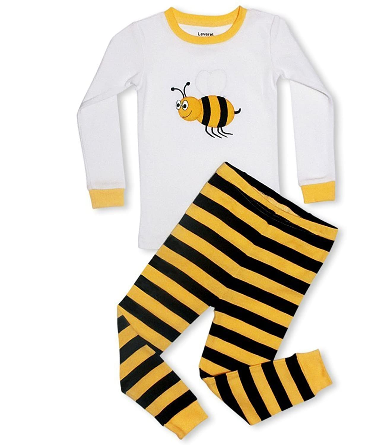 Amazon Leveret Boys Girls Moon Stars Bumble Bee 2 Piece Pajama Set Top Pants 100 Cotton Toddler 14 Years Clothing