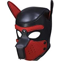 SolarLight Sexy Cosplay Puppy Mask, Sexy Cosplay Role Play Dog Full Head Mask Padded Rubber Puppy Play Mask Soft