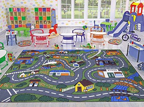 Ottomanson Jenny Collection Grey Base with Multi Colors Children's Educational Road Traffic (Non-Slip) Area New Kid Rug, 5' x 6'.6'', Multicolor