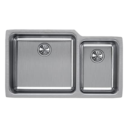 e9cccdac70 Image Unavailable. Image not available for. Color: Elkay Lustertone  ELUH3520R Offset 60/40 Double Bowl Undermount Stainless Steel Kitchen Sink