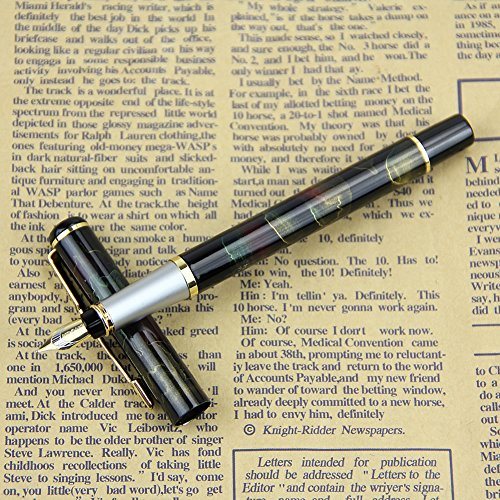 Mimgo Store BAOER 801 Aurora Borealis Pattern Fine Nib Fountain Pen Black Shimmering