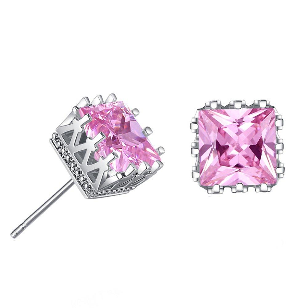1 par Pendientes Aretes Moda Cristal Artificial Diamante Perno reluciente Pendientes Regalo para Mujer Niña (rosa)