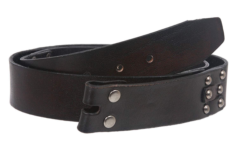 MONIQUE Men Vintage Oil Tanned Solid Leather Link Snap On 1.5 Belt Strap