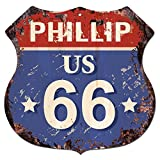 """PHILLIP US 66 Chic Sign Rustic 11.5""""x 11.5"""" Shield Metal Plate MAN CAVE Decor Gift"""