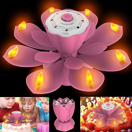 Velas de Cumpleaños LED, luz Parpadeante sin Llama con 3 Modos de Flash Ajustables, velas de torta de Lotus giratorio con SOPLAR Diseño para fFesta de ...
