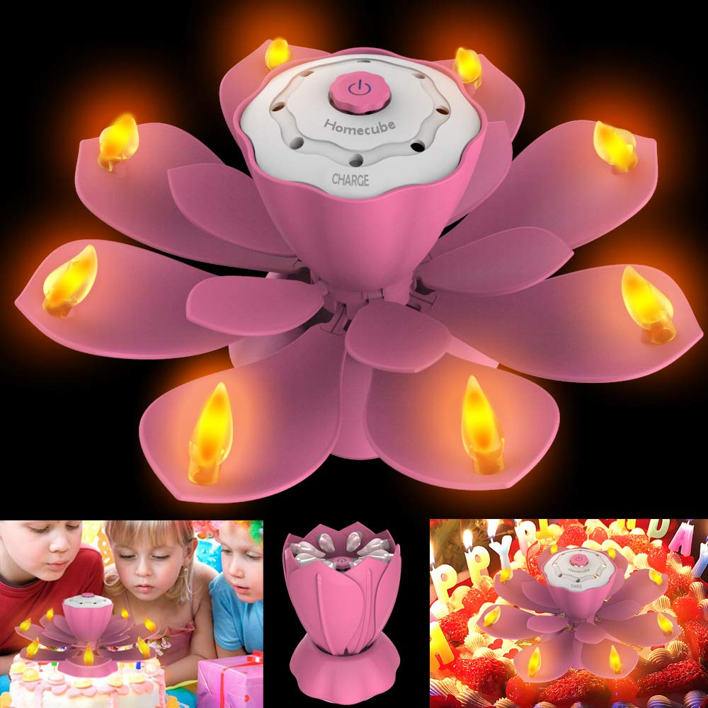 Homecube LED Birthday Candles, Flameless Musical Birthday Candles with 3 Adjustable Flash Modes, Rotatable Flower Birthday Cake Toy with Blow Out Design for Birthday Party Decoration (Pink)