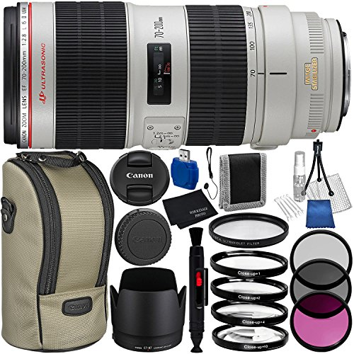 Canon EF 70-200mm f/2.8L IS II USM Lens 8PC Bundle – Includes 3 Piece Filter Kit (UV + CPL + FLD) + 4PC Macro Filter Set (+1,+2,+4,+10) + MORE by Canon