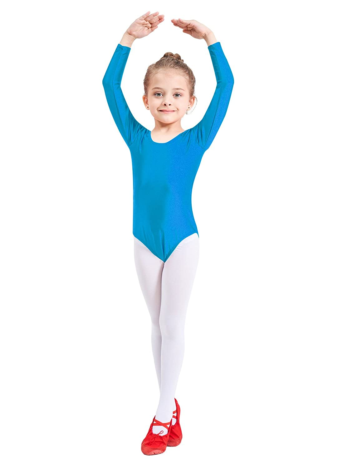 bluee 4XL(1012year) Ensnovo Girls' Spandex Long Sleeve Leotard for Dance, Gymnastics and Ballet