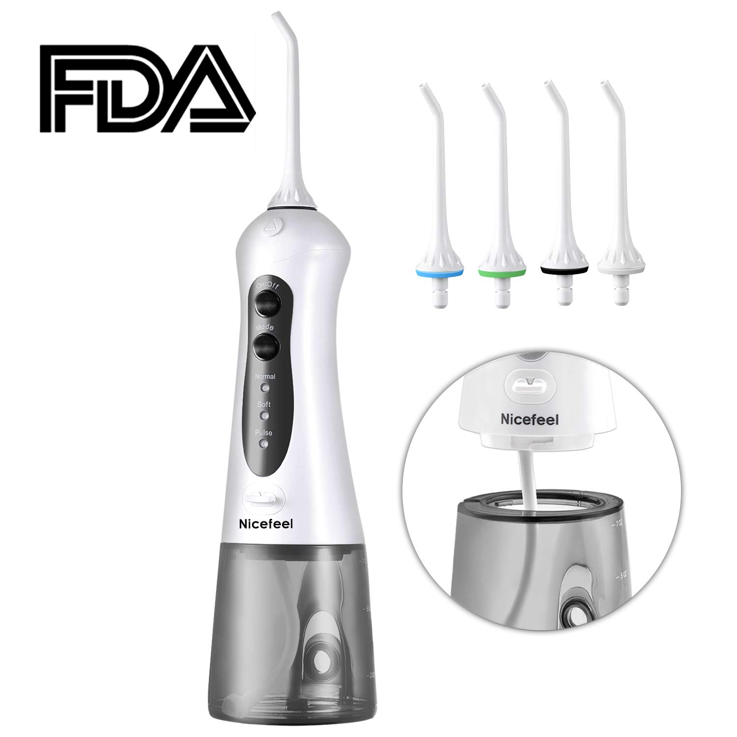 Cordless Water Flosser Oral Irrigator, Nicefeel IPX7 Waterproof 3-Mode USB Rechargable Professinal Portable Water Dental Flosser with 4 Jet Tips for Braces and Teeth Whitening of Family