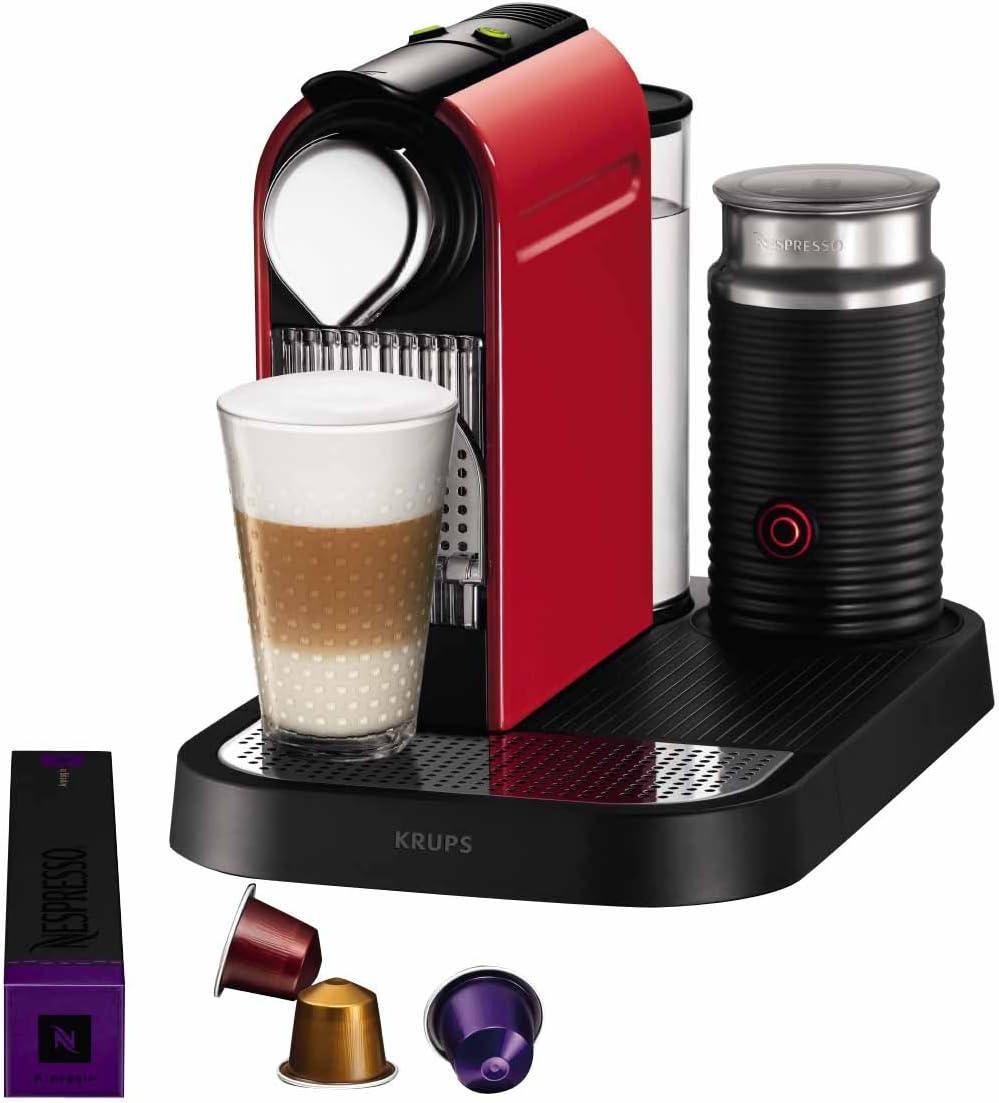 Krups YY1473FD Nespresso Citiz & Milk - Cafetera de monodosis con espumador de leche, color rojo: Amazon.es: Hogar
