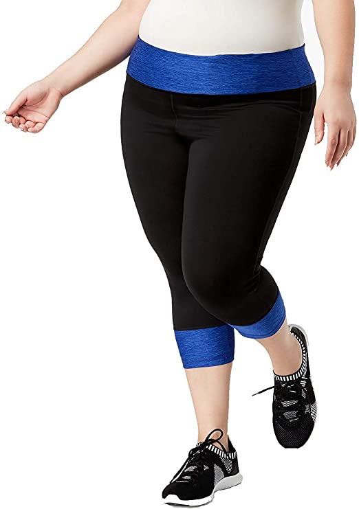 Ideology Plus Size Space-Dyed Colorblocked Cropped Athletic Yoga Leggings