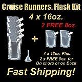 Cruise Runners Ship Kit Flask 6 Pack Sneak Alcohol Rum Liquor Smuggle Booze Gift (4 X 16oz. + 2 X 8oz.)