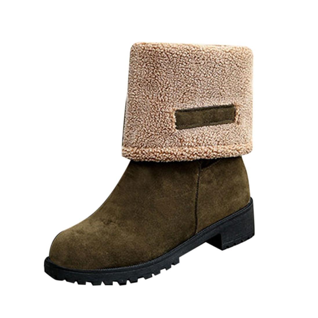 Botte FantaisieZ B075BKRQJY Mode Bottes Dames Femmes de Plates Hiver Chaud à Chaussures de Neige Bottes pour Femmes à Talons Bas 34EU-40EU de Trois Couleurs Vert 4149140 - gis9ma7le.space