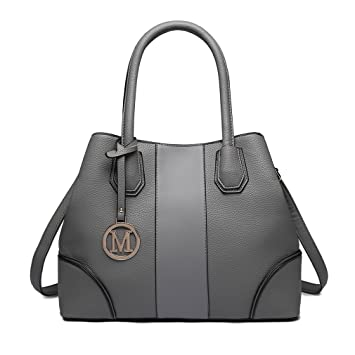 2d316539b8b7 Buy Miss Lulu Women Fashion Designer Handbag Faux Leather Patchwork Top  Handle Spacious Bags - Grey Online at Low Prices in India - Amazon.in