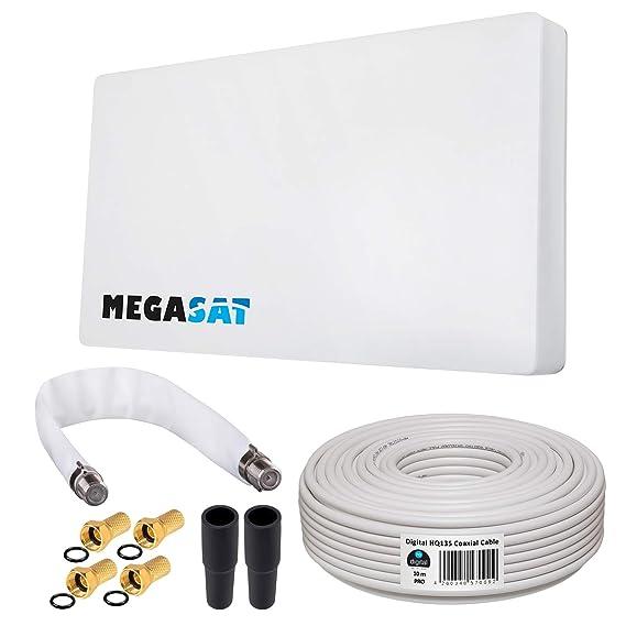 HB-DIGITAL SAT KOMPLETT Set: Sat-Flachantenne von MegaSat H30D Single 1 Teilnehmer Direkt + Fensterhalterung + 10m Kabel + SA