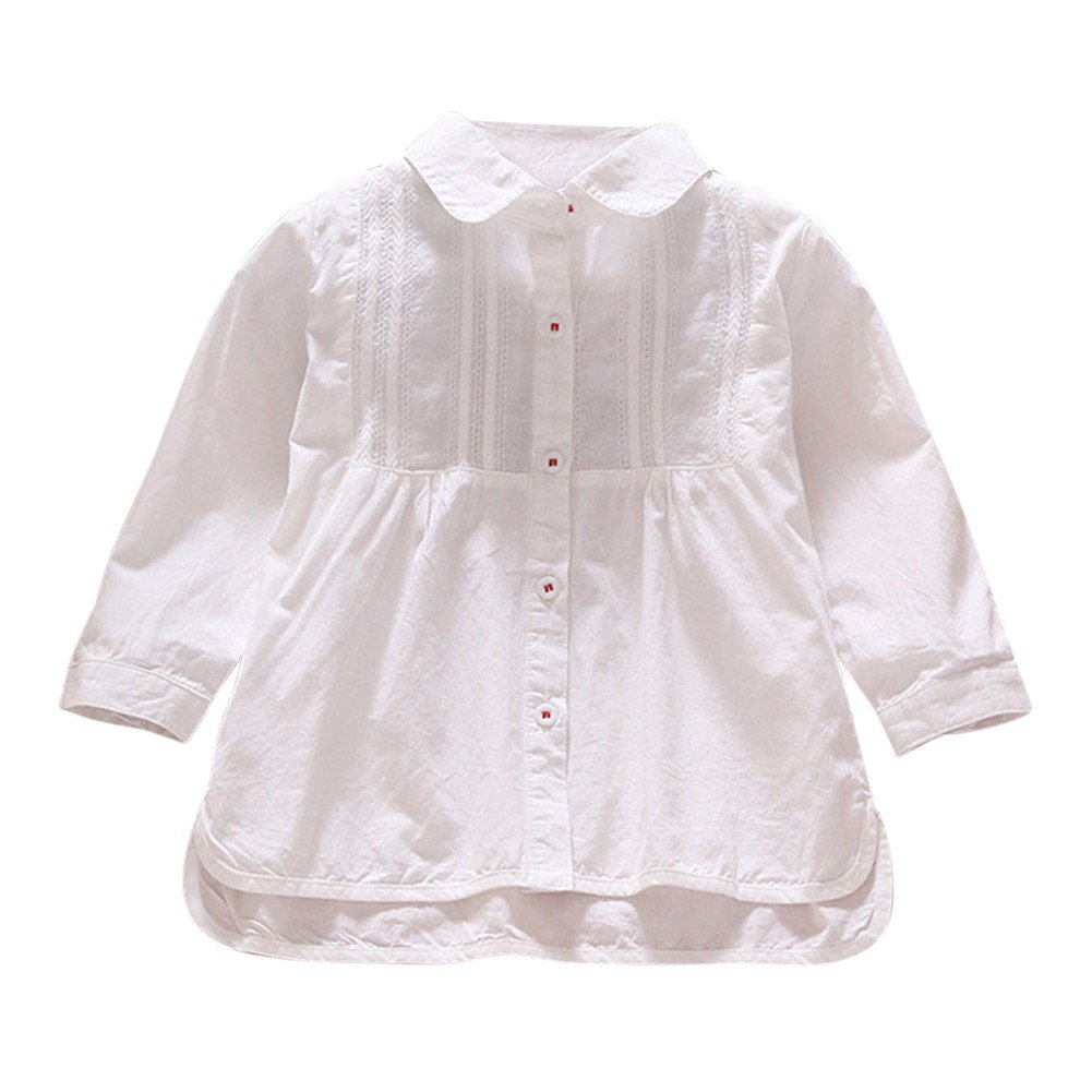 Brightup White Shirt Dress for 1-6 Years Kids Girl, Summer Outfits Long Sleeve Shirt Blouse
